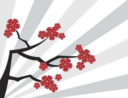 red sakuras and grey stripes - illustrated pattern / background / art / graphics