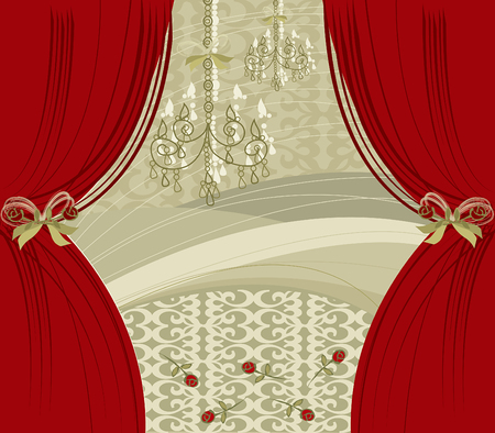 ENCORE! red curtain - illustrated background Vector