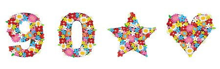 spring flowers ALPHABETS - 90, love, star (part of a complete set) Vector