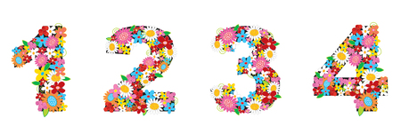 spring flowers ALPHABETS - 1234 (part of a complete set) Vector