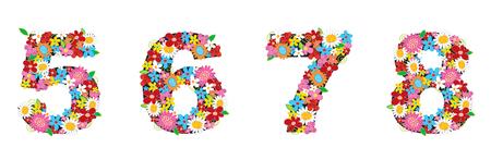 5 7: spring flowers ALPHABETS - 5678 (part of a complete set)