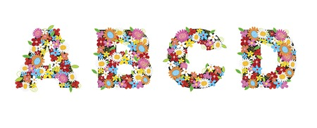 spring flowers ALPHABETS - ABCD (part of a complete set) Vector