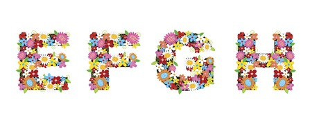 spring flowers ALPHABETS - EFGH (part of a complete set) Vector