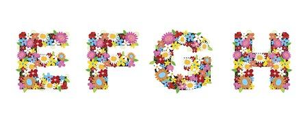 e pretty: spring flowers ALPHABETS - EFGH (part of a complete set)