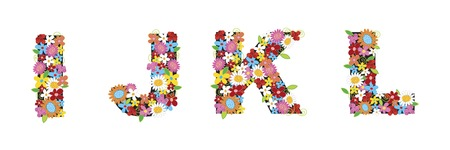 spring flowers ALPHABETS - IJKKL (part of a complete set) Vector