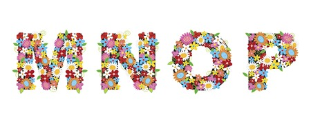 spring flowers ALPHABETS - MNOP (part of a complete set) Vector