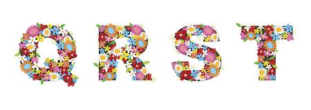 fleurs printani�res alphabets - QRST (partie d'un ensemble complet)