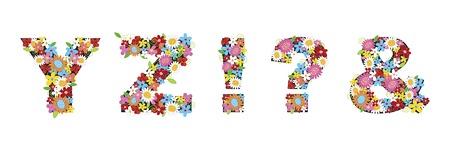 fleurs printani�res alphabets - YZ? (partie d'un ensemble complet)  Illustration