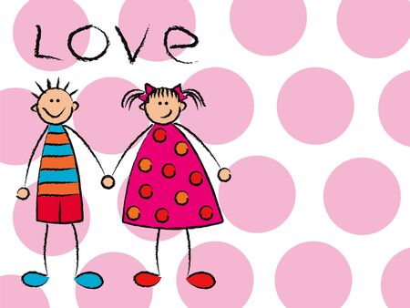 innocent girl: boy + girl = love on pink (vector) - cartoon illustration