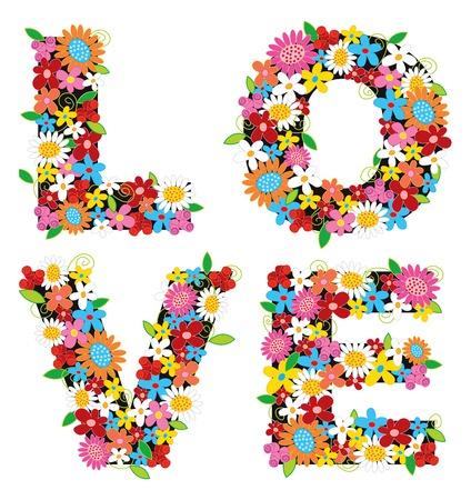 LOVE spring flowers 2 (vector) - illustration