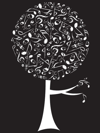 retro grunge musical notes pop tree white on black
