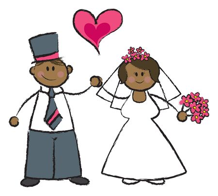 just MARRIED! - cartoon illustration of a married couple in black skin tone Illustration