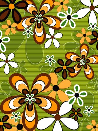 retro orange and green flower power Stock Vector - 1828889