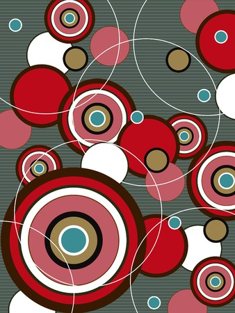 round dance: retro red and brown pop circles Illustration
