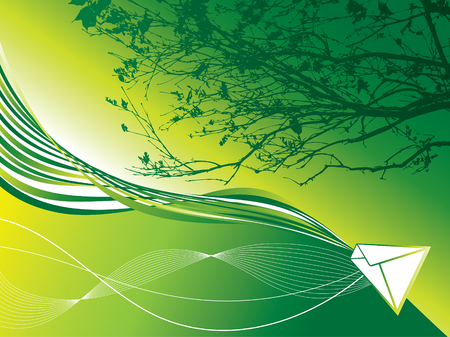 webbing: abstract green earth mail