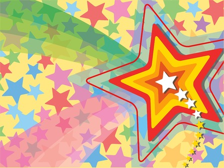 retro pop rainbow shooting star Vector