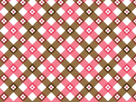 retro flower pink and brown plaid  Vector
