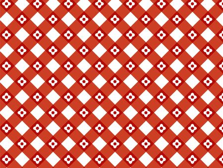 retro flower red plaid  Vector