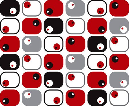 retro red, black, grey soft rectangles and dots