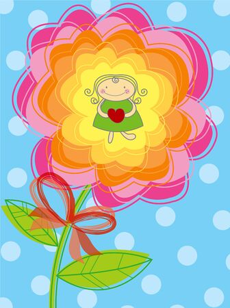 flower girl with  Vector