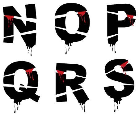 bleeding grunge alphabets - part of a complete set Vector