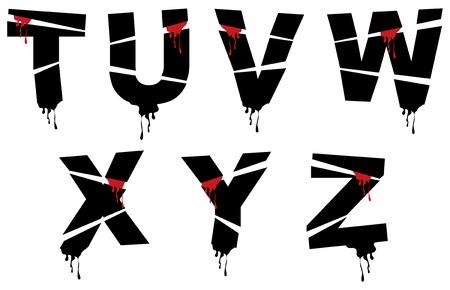 bleeding:  bleeding grunge alphabets - part of a complete set Illustration