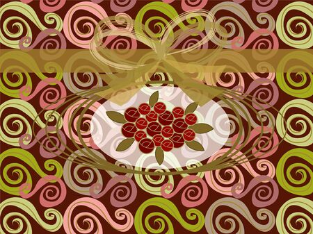 red roses on vintage swirls and gold ribbon Vector
