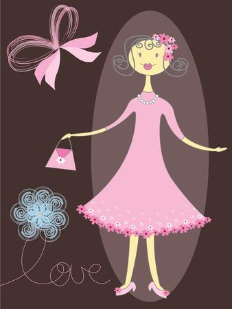 jolie fille en rose  Illustration