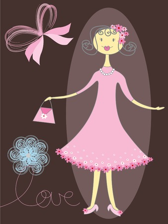 pretty girl in pink Vector