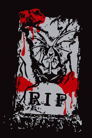 halloween grunge bloody RIP death with wings (vector) Vector