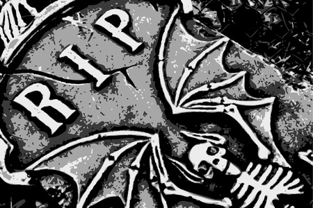 halloween grunge RIP bat skeleton wings on tombstone (vector)