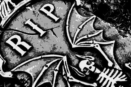 gravestone: halloween grunge RIP bat skeleton wings on tombstone (vector)