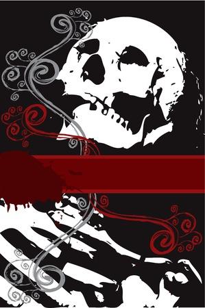 blutspritzer: Halloween-Grunge wei�en Skelett mit wirbelt (Vektor) - Platz f�r die eigenen Text  Illustration