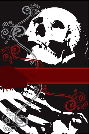 skull character: halloween grunge white skeleton with swirls (vector) - space for your own text