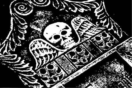 halloween grunge skull wings grayscale tombstone (vector) Vector