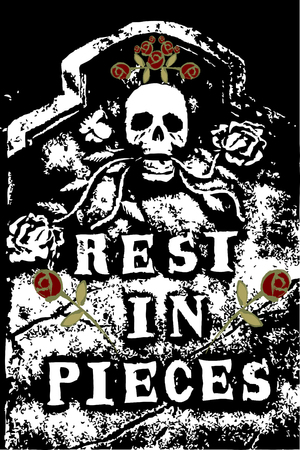roses and blood: halloween grunge RIP death skull and roses (vector)
