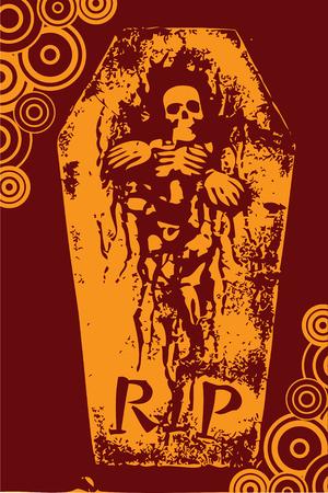 halloween grunge RIP orange skeleton coffin (vector)
