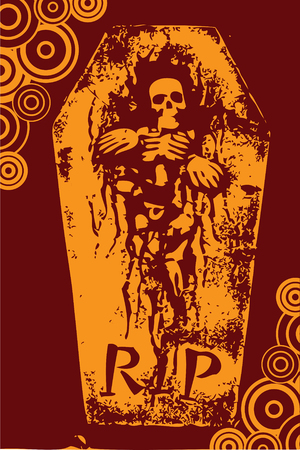 halloween grunge RIP orange skeleton coffin (vector) Vector