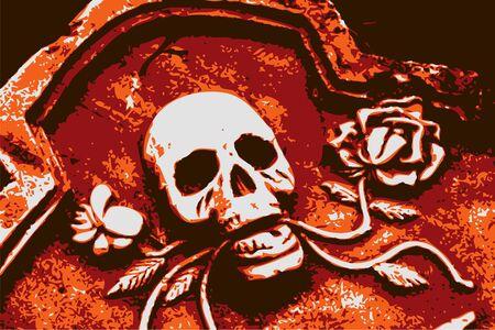 halloween grunge orange skull and roses (vector)