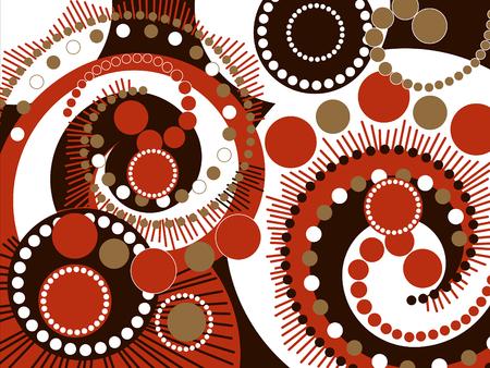 retro vector: retro brown spiral dots pattern (vector)