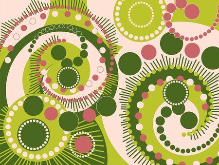 retro green pink spiral dots pattern Stock Vector - 1859756