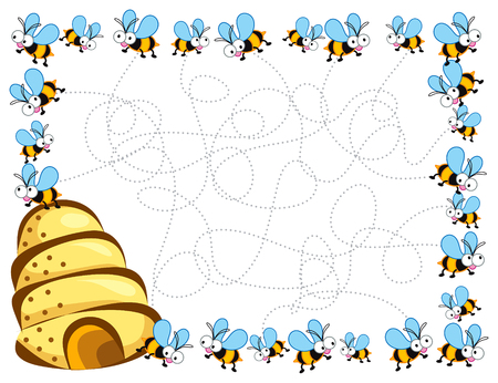 beehive: cartoon busy bees frame