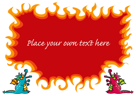 cartoon magical dragons and hot flames Vector