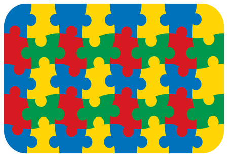 fun primary colors jigsaw puzzle Vector