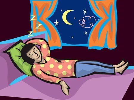 dormir habitaci�n: muchacha durmiente de la historieta