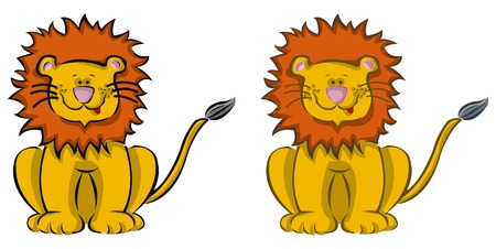 2 cartoon lions Vector