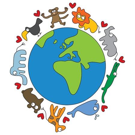 cartoon animals and world Vektoros illusztráció
