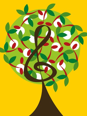 musical treble tree and cherry notes Vector