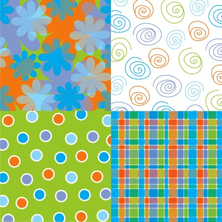 tartan: fun blue flower, dots, plaid and scribble quads (vector)