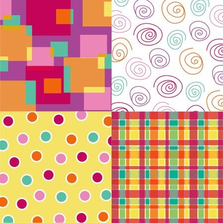 fun hot pink squares, plaid, dots, spirals quads Vector